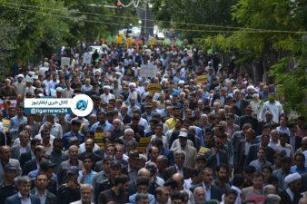راهپیمایی گسترده مردم همیشه در صحنه مشگین شهر همگام با ملت ایران در روز قدس