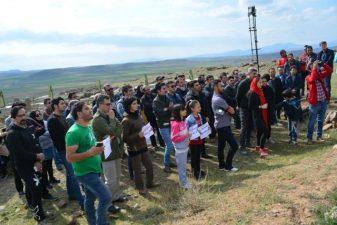 تشکیل زنجیره انسانی در شهریری مشکین شهر